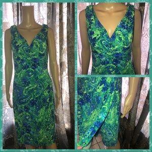 Ralph Lauren floral blue green summer dress Sz 8